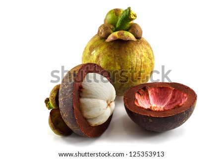 Tropical fruit Mangosteen isolated on white background
