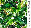 tropical leaves seamless pattern - stock