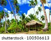 tropical paradise - deserted palm beach with hut - stock photo