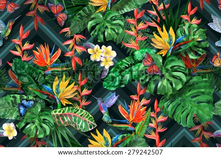 tropical flowers watercolor pattern exotic leaves stock, Beautiful flower