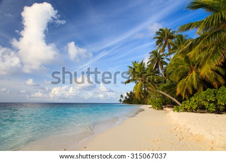 tropical sand beach against blue sky, vacation concept