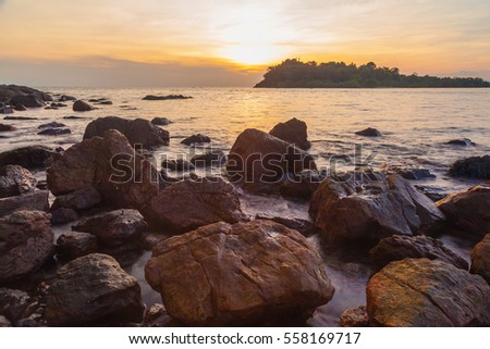 Tropical sea beach at Koh Chang island during sunset,Thailand.