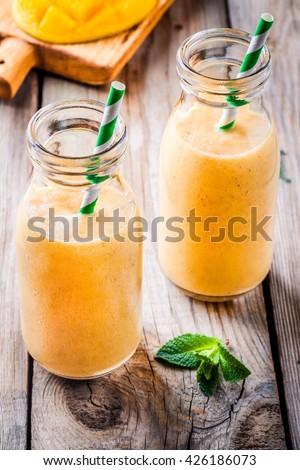 Tropical Smoothie Glass Bottles Mango Banana Stock Photo 409868182 ...