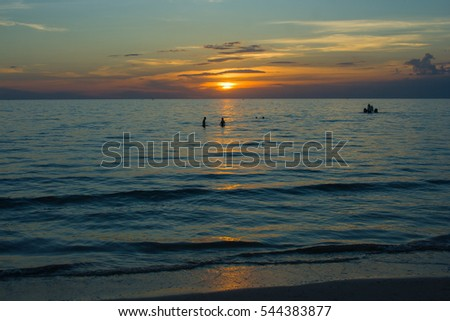 Tropical view of sea with sunset light at Chao Lao Beach, Chanthaburi Province, Thailand.