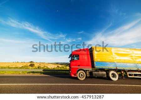 truck on the road with motion blur effect