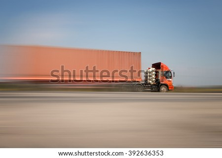 Container Truck On Highway Stock Photo 582805564 ...