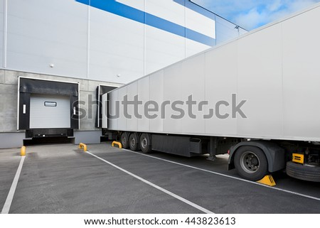 Truck while loading in a big distribution warehouse