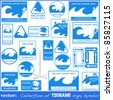 TSUNAMI warning sign set isolated on white. Gives you information about the possible wave destruction. Tsunami sign collection ready to print - stock vector