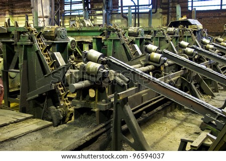 tubes factory, process of production, lathes