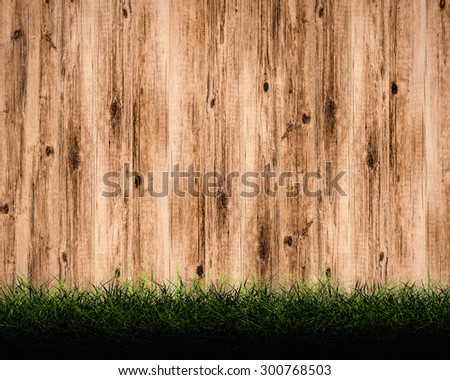 turf with wooden wall background