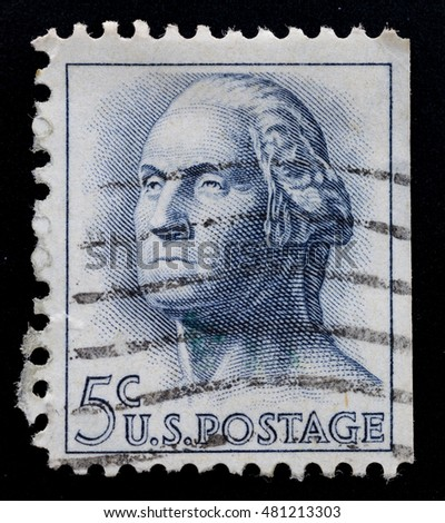 TURIN, ITALY - JUNE 26, 2016: Postage stamp printed in USA showing the portrait of George Washington, the first President of the United States, circa 1950