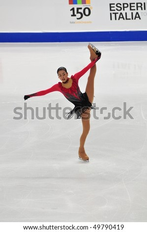 TURIN, ITALY - MARCH 27: Professional Japanese skater Mao ASADA performs free skating during the 2010 World Figure Skating Championship on March 27, 2010 in Turin, Italy.