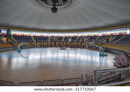 TURIN, ITALY - SEPTEMBER 15, 2015: PalaRuffini aka Palasport Ruffini or Palazzetto dello sport indoor sport and music arena