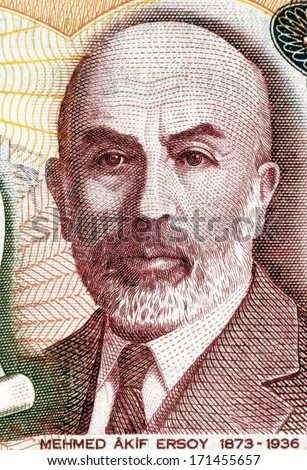 TURKEY - CIRCA 1984: Mehmet Akif Ersoy (1873-1936) on 100 Lira 1984 Banknote from Turkey.Turkish poet, author, academic and member of parliament.