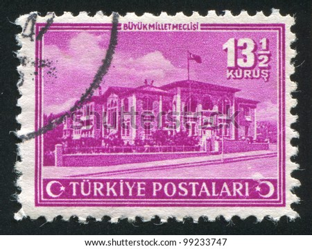 TURKEY - CIRCA 1943: stamp printed by Turkey, shows Grand national Assembly, circa 1943