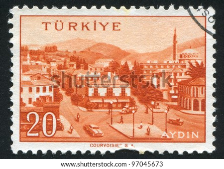 TURKEY - CIRCA 1959: stamp printed by Turkey, shows Turkish city, Aydin, circa 1959.