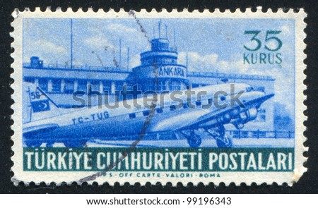 TURKEY - CIRCA 1967: stamp printed by Turkey, shows Yesilkoy Airport and plane, Ankara, circa 1967