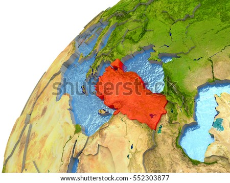 Turkey highlighted in red with surrounding region. 3D illustration with highly detailed realistic planet surface and reflective ocean waters. Elements of this image furnished by NASA.