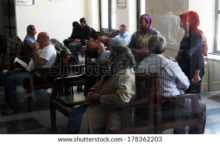 TURKEY, IZMIR - April 28, 2013: passengers on Basmane Railway Station