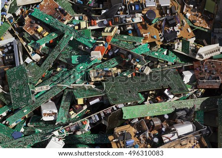 Turkey - May 15,2015 :Recycling plant in Izmit. Electronic waste recycling plant.