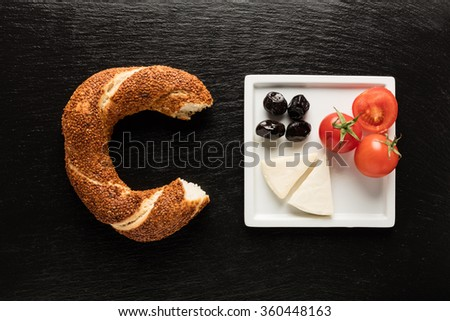 Turkish Bagel / Olive / Tomato / Cheese - Simit