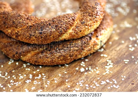 Turkish bagels with white sesame background
