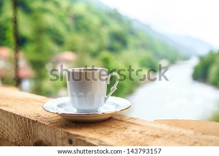 turkish coffee against nature view in Turkey
