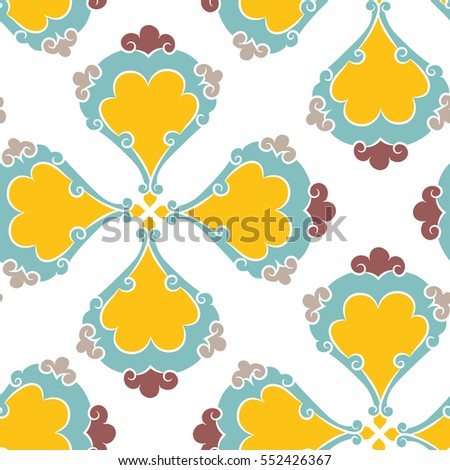 Turkish Iznik tile, seamless islamic pattern with pretty oriental curves and floral details, digital hand drawn symmetric tile design - raster version