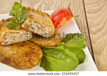 Turkish traditional Food kadinbudu kofte ( meatball ) rice and meat falafel