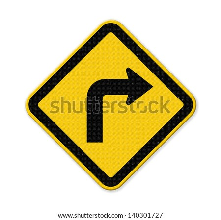 Turn right yellow road sign isolated on white background with clipping path.