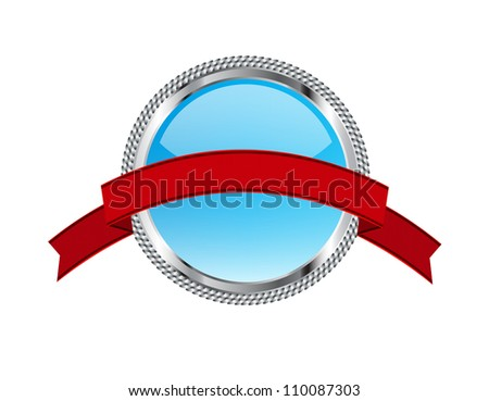 Turquoise glossy glass round badge / banner with metallic decoration ...