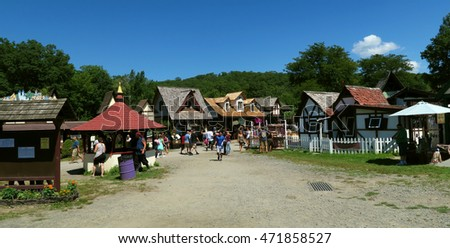 TUXEDO PARK, NEW YORK - AUGUST 20, 2016: NY Renaissance Faire. Village gift shops and festival grounds. Editorial use only.