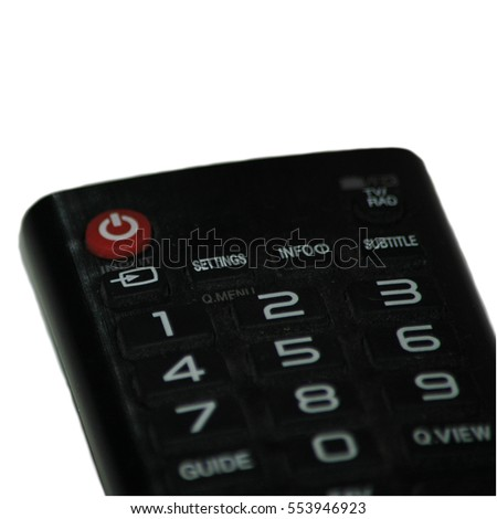 TV remote with button isolated