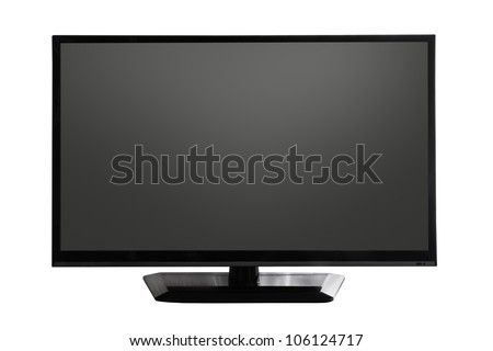 TV screen with black display on white background