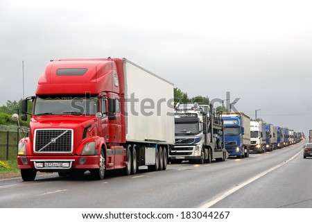 Tver region russia may 22 2013 traffic jam at the m10 federal