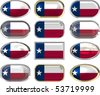 twelve Great buttons of the Flag of Texas - stock photo