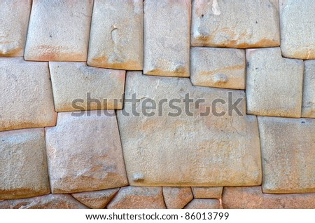 Twelve sided stone in the Inca Wall. Finest Example of Inca masonry and skill