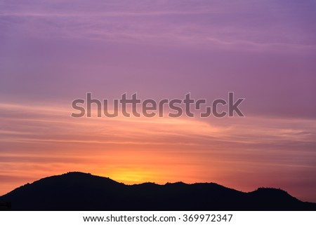 twilight sky and Mountain, background