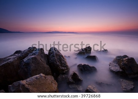 Twilight time on a rocky shore