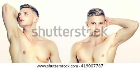 Twins two young men with sexy body and muscular chest pose isolated on white background
