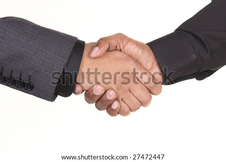 Two African American businessmen shake hands