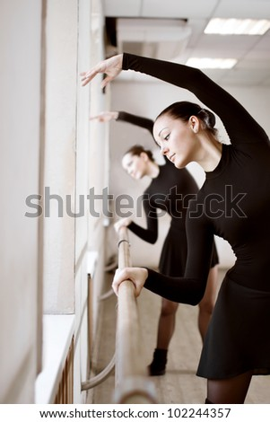 two beautiful woman in ballet class