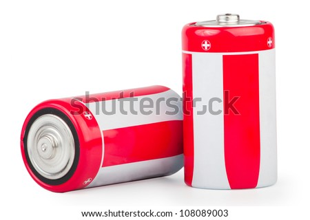 Two big batteries close-up isolated on white