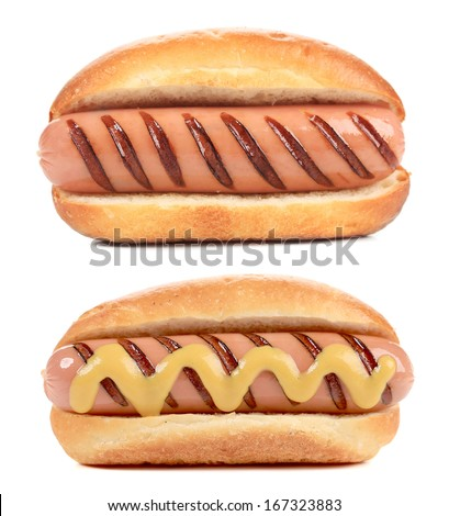 Two big Hotdogs. Isolated on a white background
