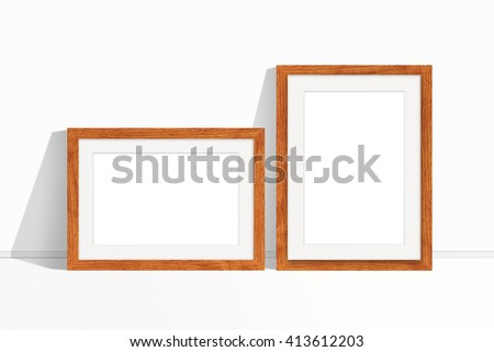 Two blank photo frames, wooden design