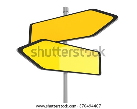 Two blank road signs pointing in the different directions, 3d illustration