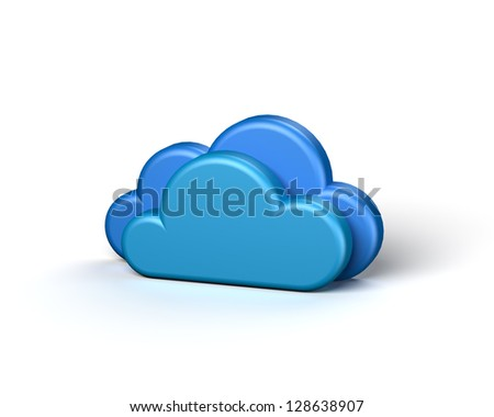 Two Blue Abstract Clouds on the White Background. Cloud Icon