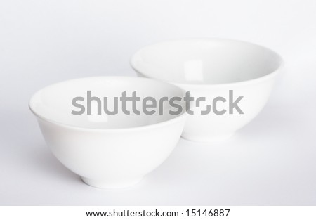two bowls on white background