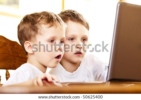 two brothers playing computer games indoor