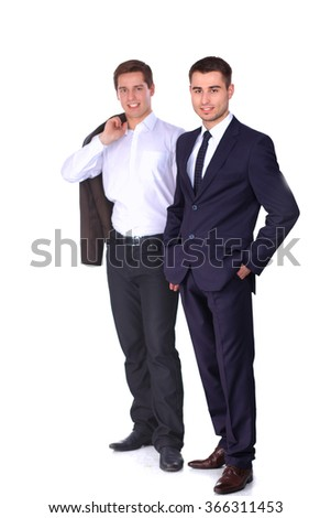 Two business men standing isolated on white background